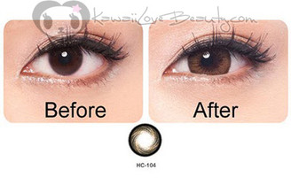 Geo HC104 Honey Brown circle lenses. Iris size comparison, before and after.