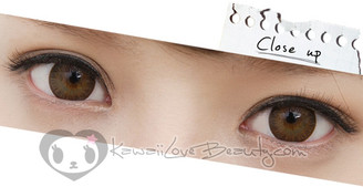 Bella Brown circle lenses on brown eyes.