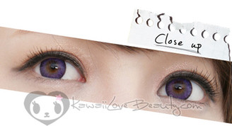 Geo Bella Violet BS-201 circle lens on brown eyes.