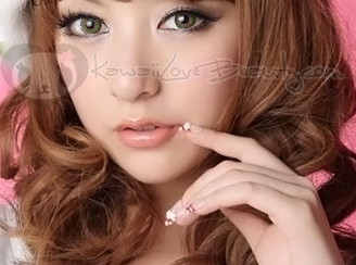 CM953 Geo Berry Holic Green colored circle contact lenses.