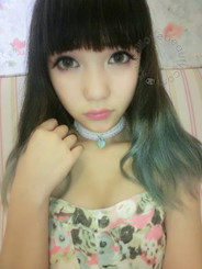 Emerald green soft contact lenses, colored circle lenses on model.