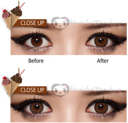 Before and after / Iris size comparison with Chocomousse Brown circle lenses by Geo