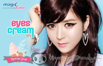 Geo Eyes Cream RayRay Gray lenses on model.