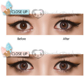 Before and after Geo Eyes Cream RayRay Gray colored contact lenses.