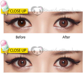 Color and size comparison of Eyes Cream Vanilla brown circle lenses.