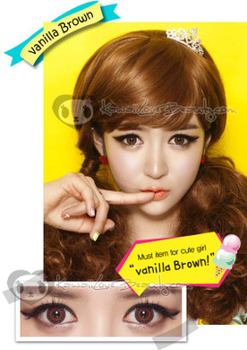 Eyes Cream Vanilla Brown 14.5mm colored contacts.