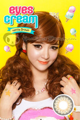 Geo Eyes Cream Vanilla brown contact lenses on model.