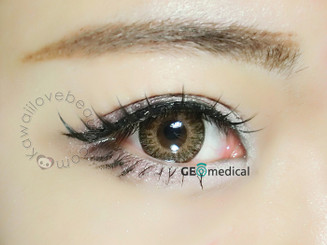 Dolly and natural eyes with Eyes Cream 14.5mm Vanilla Brown circle lenses by Geo