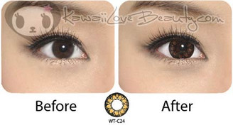 Before and after: Bigger eyes with Geo WTC24 Plum Brown circle lenses.