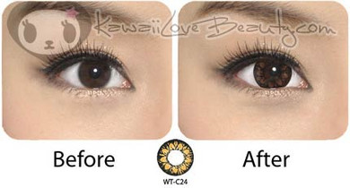 Eye enlargement: Before and after wearing GEO WT-C24 brown circle lenses.