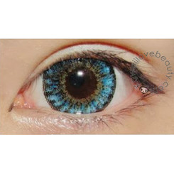 Close-up of Geo Xtra 3-Tone blue circle lens.