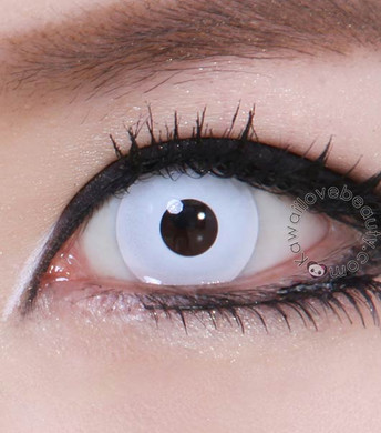 Theatrical white colored contact lenses for Halloween and other costume looks.