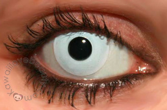 Opaque white colored contacts.
