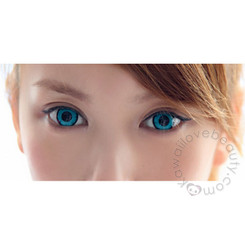 Big, bright anime eye look with Twilight Turquoise circle lenses (colored contacts).