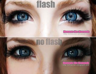 Geo blue WTB22 circle lenses on blue eyes. Top: Flash lighting. Bottom: Natural lighting.