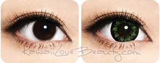Bigger eyes with Geo WTC23 Plum Green circle lenses.