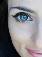 Striking, big eyes with Barbie Luna Blue circle lenses.