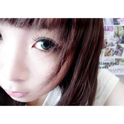 14.5mm Dizon Eye Green circle lenses by Dolly Eye (EOS).