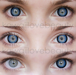 Sugar Candy Blue circle lenses on blue eyes. Top: Natural lighting. Middle: Flash lighting. Bottom: Without and with circle lenses.