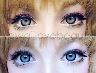Top: Sugar Candy Violet circle lenses in indoor lighting. Bottom: Sugar Candy Violet circle lenses in outdoor lighting.