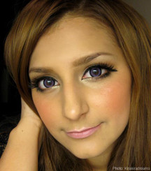 EOS Sugar Candy violet circle lenses on brown eyes.