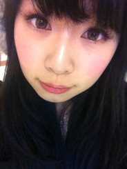 Euro Lady Light Brown circle lenses by on Geo on dark eyes and low light.