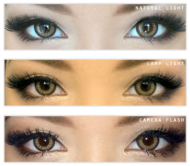 Barbie Cat (Holicat) Hazel circle lenses by Geo on brown eyes.