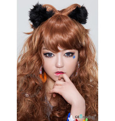 Geolica Holicat Funky Cat Blue circle lenses / colored contacts on model.