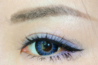 Closeup on Funky Cat blue circle lens by Geo.