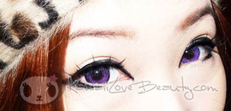 Violet doll eyes with Geo Hurricane (Twilight) circle lenses.