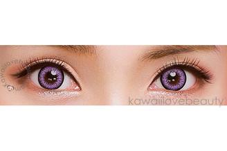 Milk Lilac circle lenses on brown eyes.