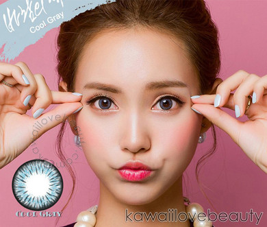 Model photo, bright even on dark eyes, Cool Gray circle lenses by Colors of the Wind (i-Codi).