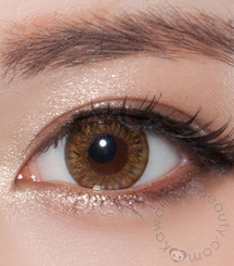 Closeup on Charm 4 Tone (Vassen Rainbow) Brown colored contact lenses by Beuberry