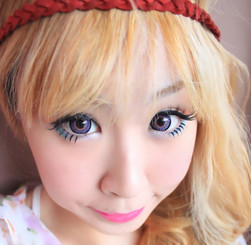 Violet dolly eyes with Barbie Bambi circle lenses by Dueba