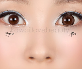 Before and after Geo WTA54 brown contacts / Size comparison.