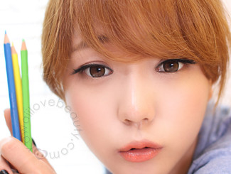 Get the ulzzang look with WTA54 brown circle lenses by Geo.