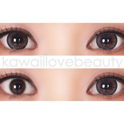 Closeup and before/after of Geo Xtra Natural WTA55 grey circle lenses on dark eyes.