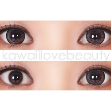Closeup and before/after of Geo Xtra Natural WTA55 grey circle lenses on dark eyes.