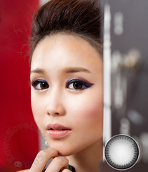 Mysterious and alluring doll eyes with Xtra WT-A55 natural gray contact lenses by Geo.