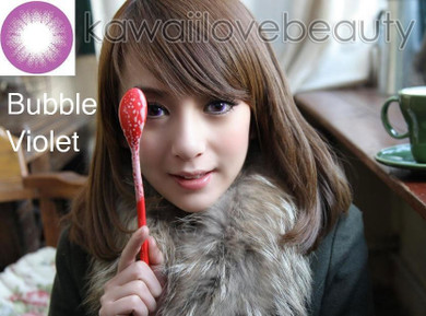 Model photo, Bubble Violet colored contact lenses.