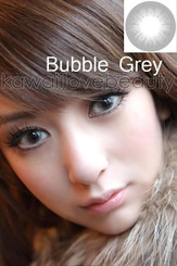 Model photo, Bubble Gray color costume contact lenses.
