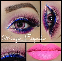 A bright pink makeup look with i-Codi Pink Lady colored contact lenses.