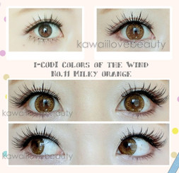 Vibrant colored contacts in Milky Orange by i-Codi Korea.