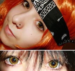 Vibrant colored contacts in Lemon Tea by i-Codi Korea.