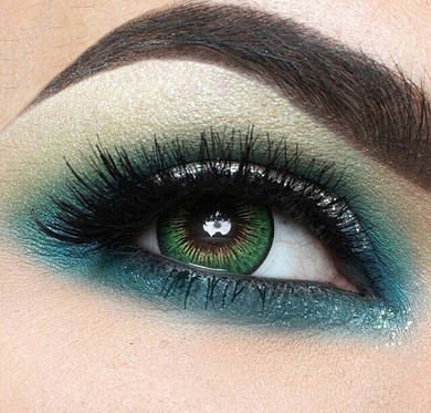 Vivid tricolor green contact lenses in #19 Lime by i-Codi Colors of the Wind.