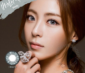 Model photo, bright even on dark eyes, Misty gray circle lenses by Colors of the Wind (i-Codi).
