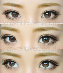 Closeup on EOS Briller Brown colored contact lenses.