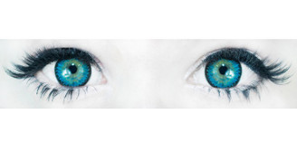 Comfortable, doll-eye Korean contact lenses in 3 Tone Nudy Blue by Sweety.