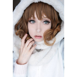 Gorgeous dolly eyed look with Nudy 3 Tone gray 14.5mm circle lenses