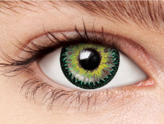Design detail on Nudy 3 Tone green circle lenses.
